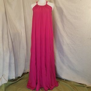 Beautiful Elan Rayon Fuschia Halter Maxi Dress